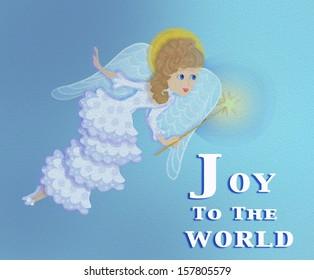 christmas  angel joy to the world card