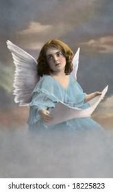 Christmas Angel - a vintage, 1913, hand-tinted photo