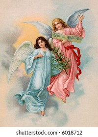 Christmas Angels with evergreen tree - a 1901 Swedish vintage illustration