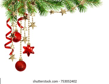 Christmas arrangement with green pine twigs, hanging red decorations and silk twisted ribbons isolated on white background - Shutterstock ID 753052402