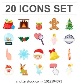 Christmas attributes and accessories cartoon icons in set collection for design. Merry Christmas bitmap symbol stock web illustration.