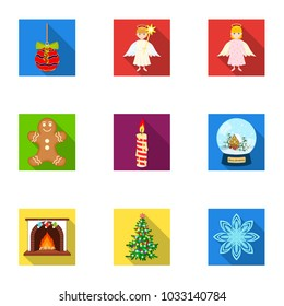 Christmas attributes and accessories flat icons in set collection for design. Merry Christmas raster, bitmap symbol stock web illustration.