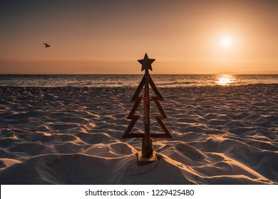 Christmas in Australia is held in the summer months and is usually spent outdoors or by the beach.  A wooden Christmas tree stands in the sand by the ocean at sunrise.  A seagull flys overhead