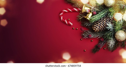 Christmas Backgroud With Christmas Decoration.