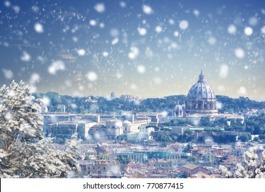 Christmas background : Aerial view of Rome cityscape at winter sunset in Italy. Vintage colored picture. X-mas, Business, Love and travel concept .