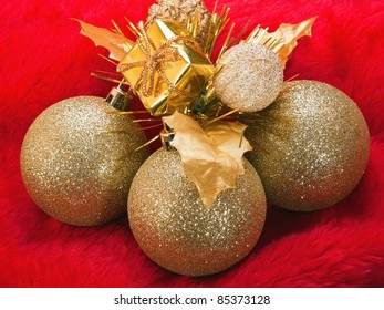 Christmas background with balls gifts and ribbon