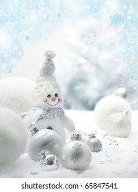 Christmas background with balls and snowman