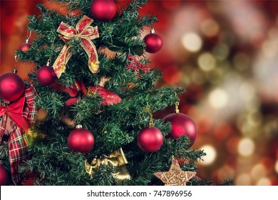 Christmas background - baubles and christmas tree
