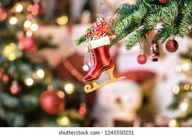 Christmas background - baubles and christmas tree. Holiday backgroun