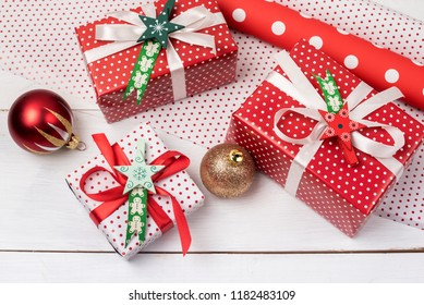 Christmas Background with Beautiful Gift Boxes Set of Christmas Gift Boxes New Year Background Flat Lay White Wooden Background Wrapping Paper