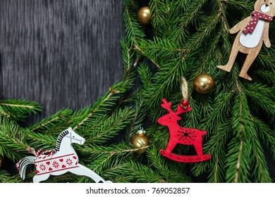 Black Background Real Tree For Text Christmas Toys