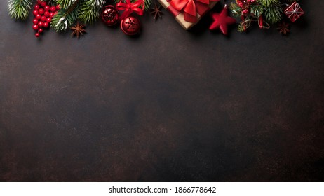 Christmas background with black wooden background, gift concept for December end of year holiday