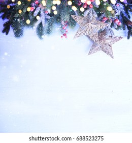Christmas background with branch and ornaments