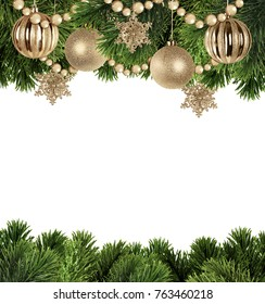 Christmas background with branches of Christmas tree and golden balls on a white background