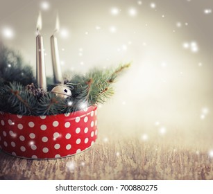 Christmas background with candles and ornaments  - Shutterstock ID 700880275