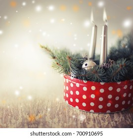 Christmas background with candles and ornaments  - Shutterstock ID 700910695