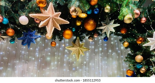 Christmas background composition greeting card template with copy space