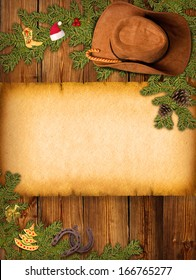 Christmas  background with cowboy hat and old paper for text