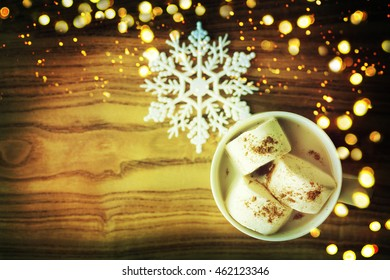 Christmas background with cup of chocolate