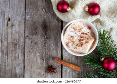 Christmas background with cup of christmas hot cocoa with marshmallow,  top view