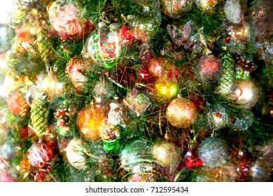 Christmas background. Decorated Christmas tree