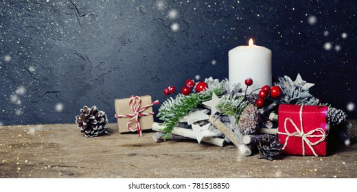 Christmas background with christmas decoration.