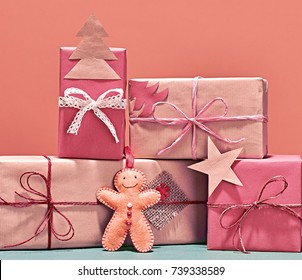 Christmas Background Decoration Gift Boxes Handmade Stock Photo