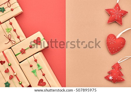 Christmas Background Decoration Handmade Gift Boxes Stock Photo