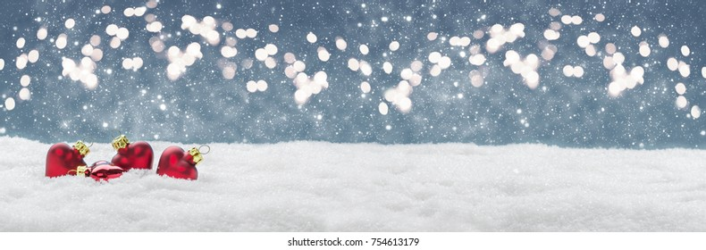 Christmas background, decoration in the snow before Bokeh, banner