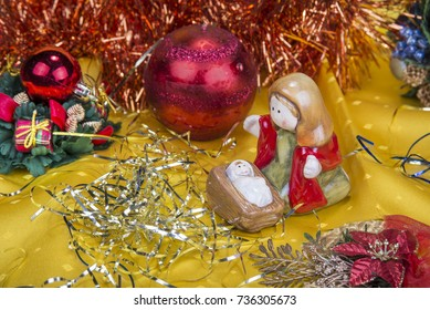 Christmas background with decorations  bells, ribbon and balls