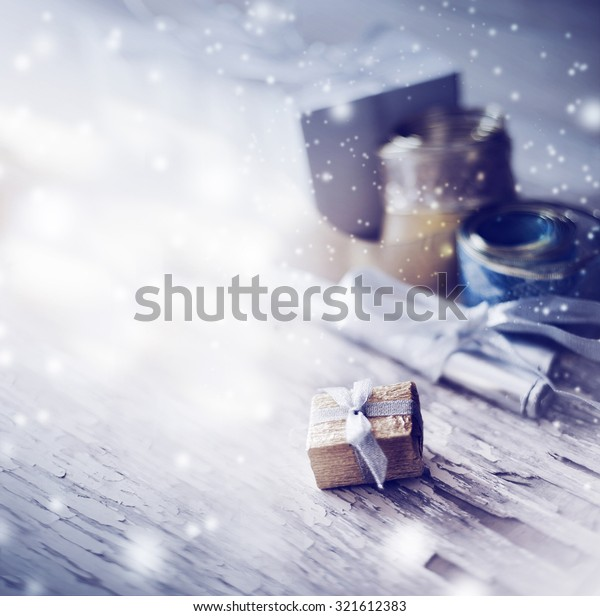 Christmas background with christmas decorations and candles / toned pictures