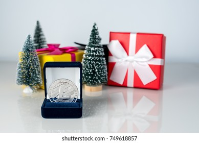 Christmas background - decorations, gift boxes and best present 2017-2018 - crypto-currency Litecoin