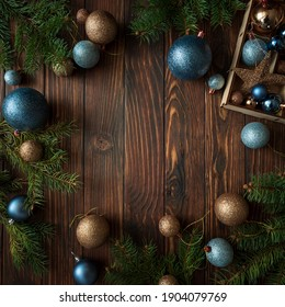 Christmas background with decorations on wooden background. Top view. Copy space.  Merry christmas and happy new year celebration concept. Mock-up