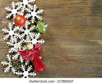 Christmas background decorations and  wooden snowflakes