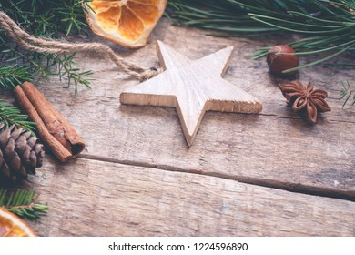 Christmas background with decoration/toned photo
