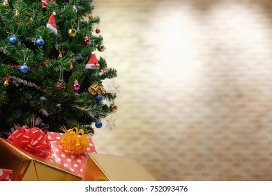 Christmas background of de-focused lights with decorated tree. vintage tone Retro filter effect,soft focus,low light.space for text.