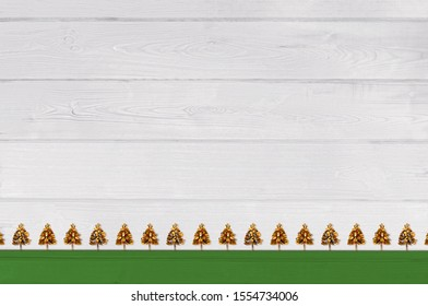 christmas background with ecology trees and nativity balls, Xmas and New Year greeting card in winter holidays