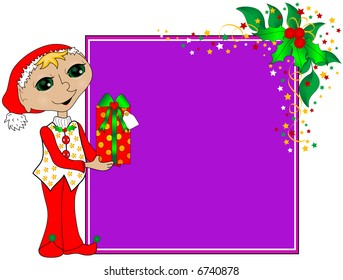 Christmas background  with elf, gift and holly.