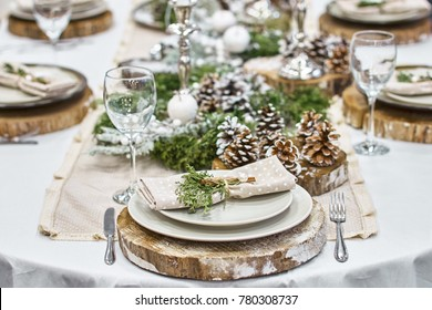 Christmas background with an empty plate. decorations for the New Year's table. Concept Christmas, new year,food.