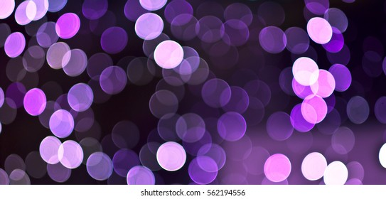 Christmas background. Festive abstract holidays background with bokeh defocused lights and stars. Purple, lilac, violet color, toned