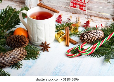 Christmas background with festive decoration over painted surface