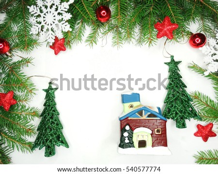 Christmas Background Fir Branches Frame Copy Stock Photo (Edit Now