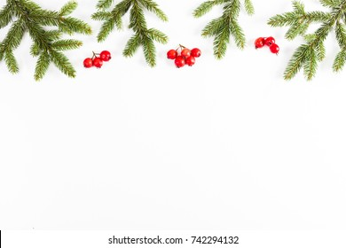 Christmas background with fir branches and red berries on white background
