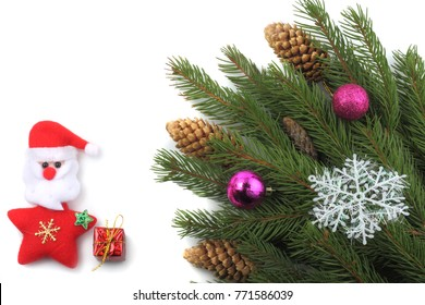 Christmas background. Fir tree isolated on white background. Top view with copy space.
