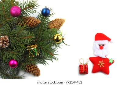 Christmas background. Fir tree isolated on white background with copy space.