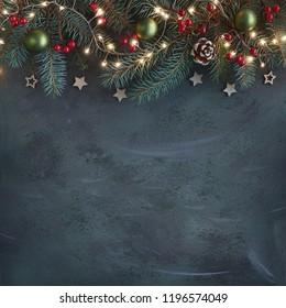Weihnachtshintergrund mit Tannenzweigen, roten Beeren, Konen und Weihnachtsbeleuchtung auf dunklem abstraktem Hintergrund mit viel Textraum