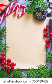 Christmas background, Christmas frame, Christmas candy and decoration