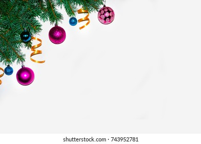 Christmas background. Frame made of fir branches. New Year's toys. Wallpapers. Flat, top view. Merry christmas card. Winter holiday theme. Happy New Year. Space for text