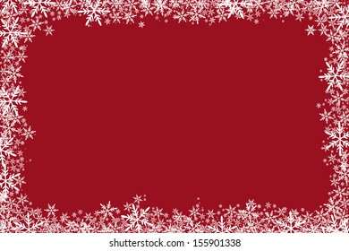 Christmas Background With Frame Of Stars Snowflakes