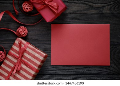 Christmas background with gift boxes. New Year's decor. Selective focus